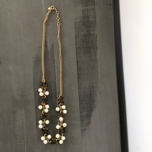 Jcrew tortoise and pearl long charm necklace
